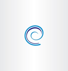 Blue spiral letter e icon logo sign vector