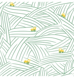 Farm seamless pattern with field and tractor vector