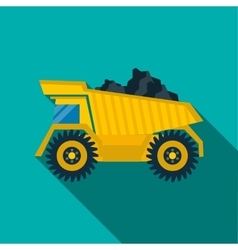 Dump truck with coal icon flat style vector image