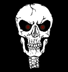 Red eyes skull vector