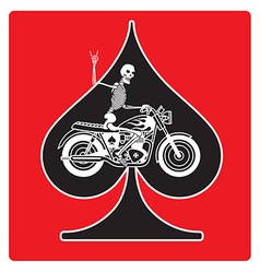 Ace of Spades with Skeleton Biker design vector image
