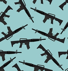 Automatic rifle M16 seamless pattern Arms on blue vector image vector image