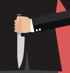 Businessman holding a knife behind his back vector