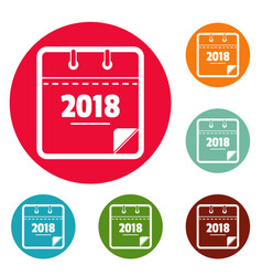 calendar new year icons circle set vector image