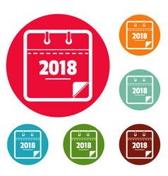 calendar new year icons circle set vector image