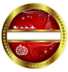 Christmas red design with a gold border vector