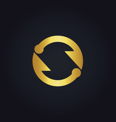 Circle arrow infinity gold logo vector
