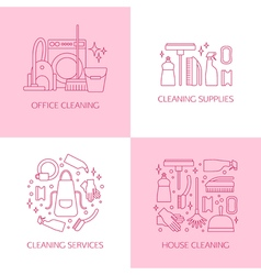 Cleaning logo set vector image vector image