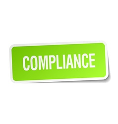 Compliance green square sticker on white vector