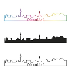 Dusseldorf skyline linear style with rainbow vector image