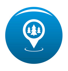 Forest map pointer icon blue vector