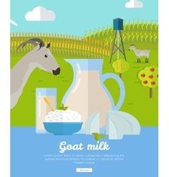 Goat dairy milk farm concept banner vector
