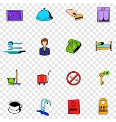 Hotel set icons vector