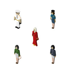 isometric people set of policewoman seaman vector image