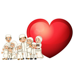 Muslim family in white costume and red heart vector