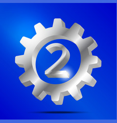 number 2 silver gear vector image