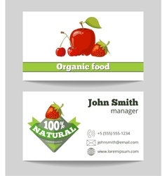 Organic food shop business card template vector