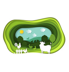 Paper art carving of landscape with farm animals vector