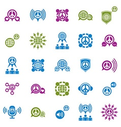 Peace earth and society unusual icons set creative vector image vector image