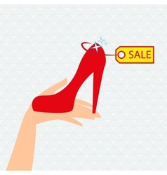 Red shoe presentation for sale vector image
