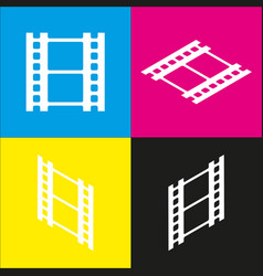 Reel of film sign white icon with vector