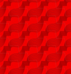 Retro 3D red zigzag cut ribbons vector image vector image