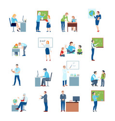 School college teacher flat icons vector