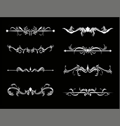 set of calligraphic decorative elements for design vector image
