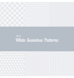 Set of white seamless patterns vector image vector image
