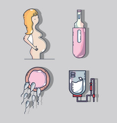 Set woman pregnancy with ovum and spermatozoons vector