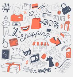 shopping sale freehand doodle with clothes vector image vector image