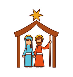 traditional family christmas manger scene virgin vector image