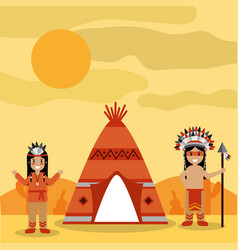 two native american people with teepee and desert vector image