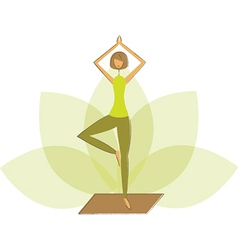 Woman in tree pose vector