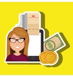 woman smartphone taxes money vector image