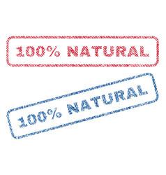 100 percent natural textile stamps vector