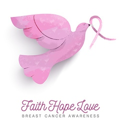 Breast cancer awareness pink bird with ribbon vector