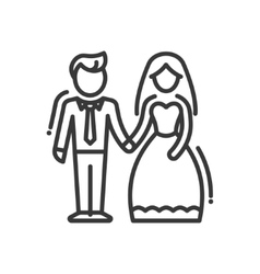 Newly married couple - line design single isolated vector