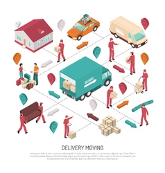 Isometric Delivery Moving Composition vector image