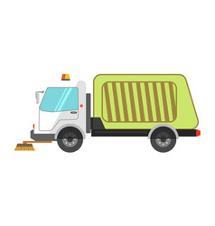 Machine cleans road garbage removal flat icon on vector