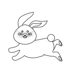 figure cute white rabbit animal running vector image
