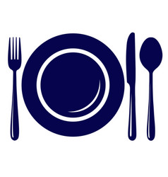 Empty plate with knife fork and spoon icon vector