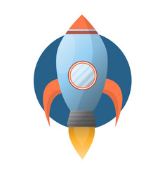 Spacious blue space rocket with powerful fire vector
