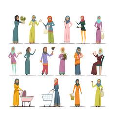 Arabic woman icons set vector