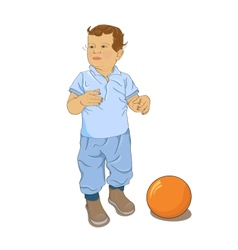 Little curly boy play with ball vector