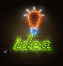 Neon idea text with electricity lightbulb vector