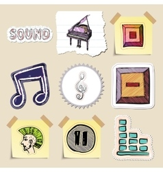 Hand drawn music emblems set isolated vector