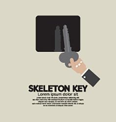 Skeleton key in hand vector