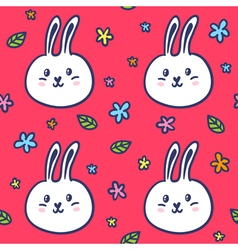 Seamless pattern with doodle rabbits and flowers vector