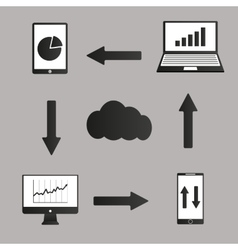 Mobile devices  computer and business icons set vector